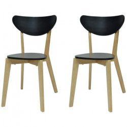 SMILEY Lot de 2 chaises de salle a manger en bois coloris bois naturel et noir - Scandinave - L 37,5 x P 39,5 cm