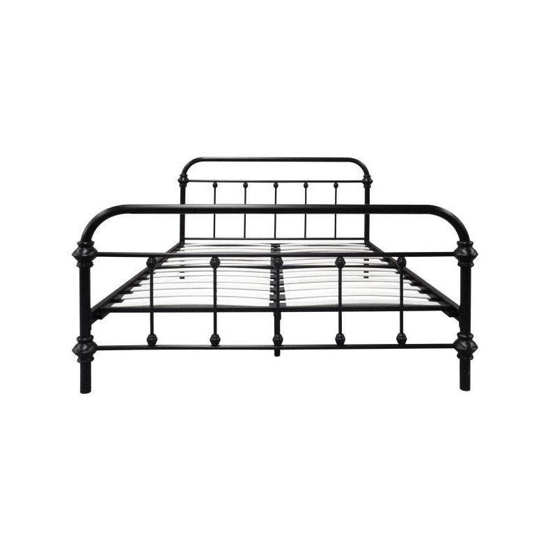 factory lit adulte en m tal 140x190 cm sommier noir. Black Bedroom Furniture Sets. Home Design Ideas