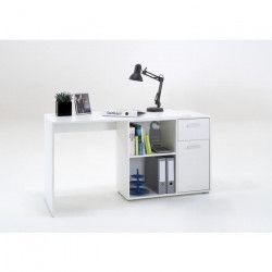 LARSON Bureau angle réversible contemporain blanc - L 117 cm