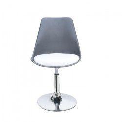 POPPY Chaise de salle a manger pivotante - Simili gris et blanc - Contemporain - L 48,5 x P 53 cm