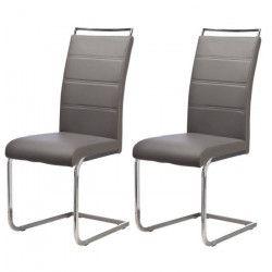 DYLAN Lot de 2 chaises de salle a manger - Simili gris - Contemporain - L 42,5 x 56 cm