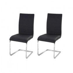 LEA Lot de 2 chaises de salle a manger - Simili noir - Contemporain - L 43 x P 56 cm