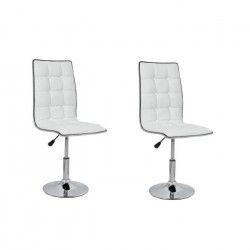 LEAF Lot de 2 chaises de salle a manger - Simili blanc - Contemporain - L 42 x P 46,5 cm