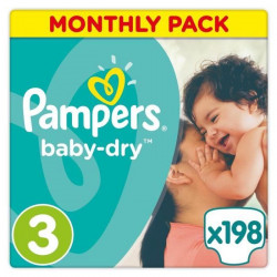 PAMPERS Baby Dry Taille 3 - 5 a 9kg - 198 couches - Format Pack 1 mois