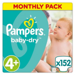 PAMPERS Baby Dry Taille 4+ - 9 a 18kg - 152 couches - Format pack 1 mois