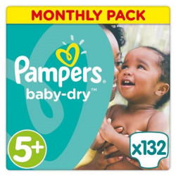 PAMPERS Baby Dry Taille 5+ - 13 a 25kg - 132 couches - Format pack 1 mois