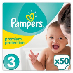 PAMPERS Premium Protection Taille 3 Midi - 6 a 10kg - 50 couches - Format pack Géant