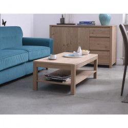 NANO Table basse style contemporain placage bois chene verni - L 110 x l 60 cm