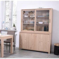 NANO Vaisselier classique placage bois chene verni - L 140 cm