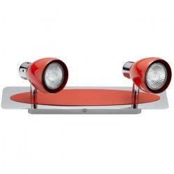Spot barre 2 lumieres Manhattan GU10 35W ampoule fournie largeur 32 cm rouge et chrome