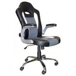 COCHE Chaise gamer - Simili noir et gris - Urbain - L 58 x P 52 cm