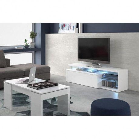 Ledd Meuble Tv Avec Led Contemporain Blanc Et Tablettes