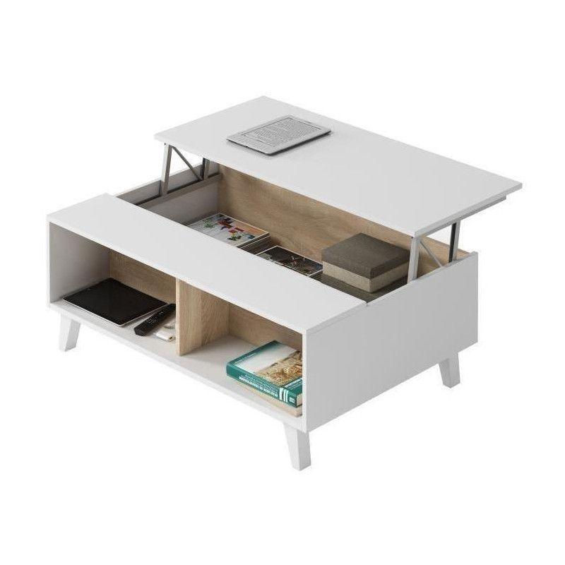 Zaiken Plus Table Basse Scandinave Blanc Brillant Et