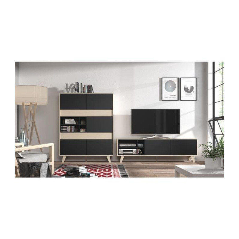 zaiken meuble tv scandinave gris anthracite et d cor. Black Bedroom Furniture Sets. Home Design Ideas