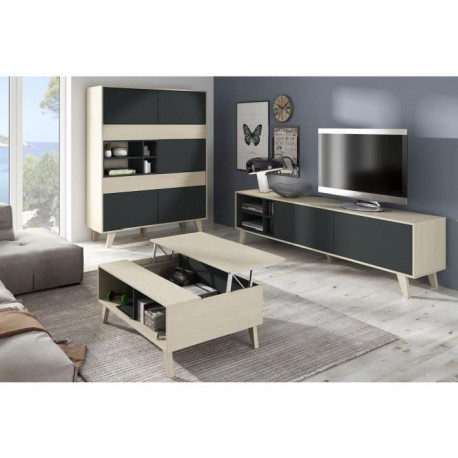 Zaiken Meuble Tv Scandinave Gris Anthracite Et Decor