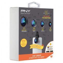 PNY The Lens Kit 4 en 1 Kit d`Objectifs pour Smartphone Noir
