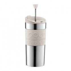 BODUM TRAVEL PRESS Mug a piston en inox double paroi 0.35 l Blanc Creme