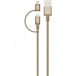 COLORBLOCK Câble USB / Micro USB / Lightning 2m - Gold