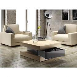 FIXY Table basse carrée style contemporain décor chene et gris brillant - L 80 x l 80 cm