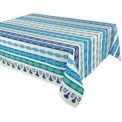 VENT DU SUD Nappe de table enduite Cuzco - 160 x 200 cm - Bleu turquoise