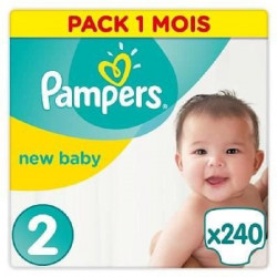 PAMPERS New Baby Taille 2 - 4 a 8kg - 240 couches - Format pack 1 mois