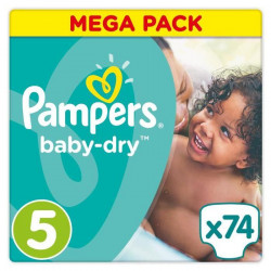 Pampers Baby-Dry Taille 5, 11-16 kg - 74 Couches - Mega Pack