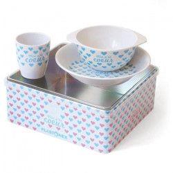 PLASTOREX Coffret Repas mélamine blanche décor Petits Coeurs bleus (assiette, bol, gobelet) sous boîte