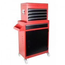 Servante d`atelier 5 tiroirs vide en métal - 2 parties avec 5 tiroirs, 1 caisson et 1 étagere