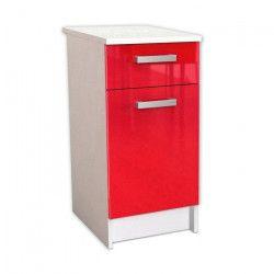 START Caisson bas de cuisine L 40 cm avec plan de travail inclus - Rouge Brillant