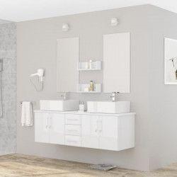 DIVA Ensemble salle de bain double vasque avec miroir L 150 cm - Blanc laqué brillant