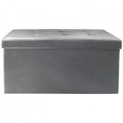 anc/Pouf Coffre Pliable en PU Gris - 76,5x37,5x37,5 cm