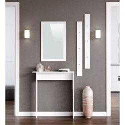 KYRA Meuble d`entrée contemporain mélaminé blanc mat - L 80 cm