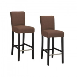 ELVIS Lot de 2 tabourets de bar - Tissu marron - Contemporain - L 39 x P 49,5 cm