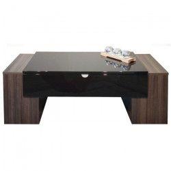 LUCKY Table basse style contemporain décor prunier et noir brillant - L 123 x l 42 cm