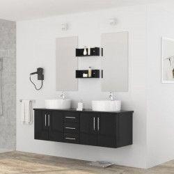 DIVA Ensemble salle de bain double vasque avec miroir L 150 cm - Noir laqué brillant
