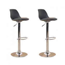 NEO Lot de 2 tabourets de bar - Simili noir - Contemporain - L 38 x P 42,5 cm