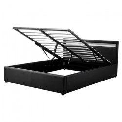 MARS Lit coffre adulte classique - Simili noir - Sommier et tete de lit avec LED inclus - l 160 x L 200 cm
