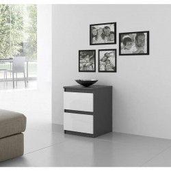 FINLANDEK Chevet NATTI contemporain gris mat et blanc brillant- L 42 cm