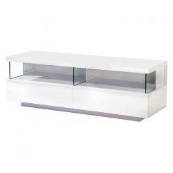 VOLCANO Meuble TV avec LED contemporain blanc laqué - L 140 cm