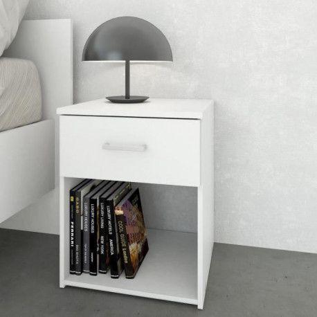 SPACE Table de nuit contemporain - Blanc - L 37 cm