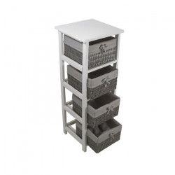 PALMA Colonne de salle de bain 30 cm + 4 paniers - Blanc