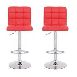 CRUNCH Lot de 2 tabourets de bar - Simili rouge - Structure en métal chromé - Contemporain - L 41,5 x P 48 cm
