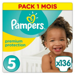 PAMPERS Premium Protection Taille 5 11-23kg - 136 Couches, Pack 1 Mois