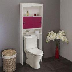 GALET Meuble WC ou machine a laver L 64 cm - Rose fuchsia mat