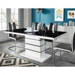 LUCIA Table a manger de 6 a 8 personnes style contemporain laqué blanc brillant + plateau en verre trempé noir -