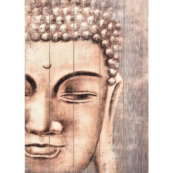 Tableau déco effet panneaux de bois Buddha 50x70 cm beige