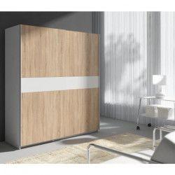 STAR Armoire style contemporain décor chene sonoma et blanc - L 170 cm