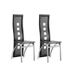 EIFFEL Lot de 2 chaises de salle a manger - Simili noir et gris - Style contemporain - L 50 x P 53 cm