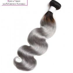 KNJ HAIR Tissage brésilien - Cheveux humains - Ondulé 24`` - Ombre gris