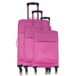 LES P`TITES BOMBES Set de 3 Valises Souple 4 Roues 50-60-69 cm ANAiS Pink